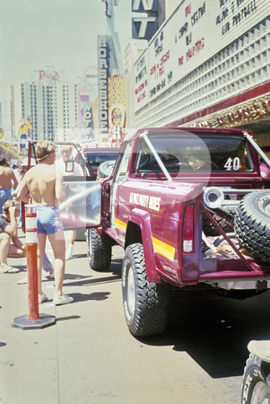 1984 SCORE - Southern California Off Road Enthusiasts Mint 400 - Las Vegas - Ford Bronco And VW Based buggies Jumping Short Hill