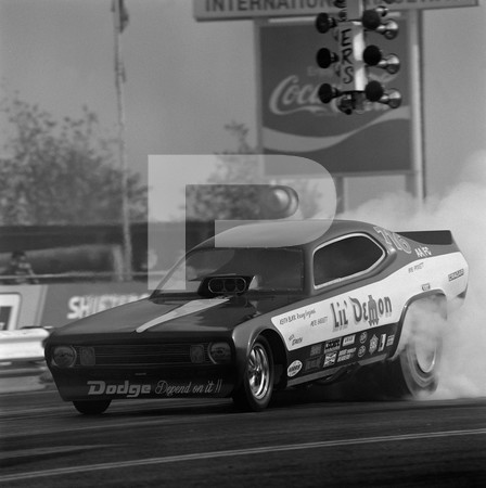 1972 US Navy Recruiting Race - Orange County International Raceway - funny cars Braskett & Burgin Vega, Peter Everett Lil Demon, AA/FE/TF cars
