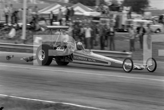 1972 American Hot Rod Association And Professional Racers Association 1st Annual National Challenge - Tulsa International Raceway - Caifornia Cajun funny car, Bill Schiffs Cox Pinto funny car, Fla