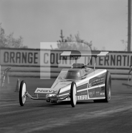1972 US Navy Recruiting Race - Orange County International Raceway - Ryan Racing Trident American Way streamliner top fueler, Avengers top fueler