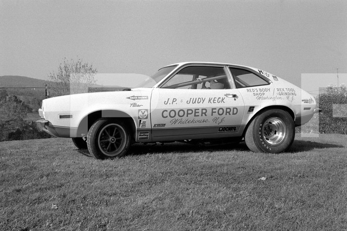 1972 NHRA World Finals - Amarillo Dragway Texas - CJ Batten OHC inline engine installed in JP & Judy Keck Cooper Ford Pinto, ext and int shots