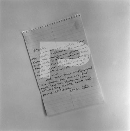 1974 Winternationals Handwritten Noties