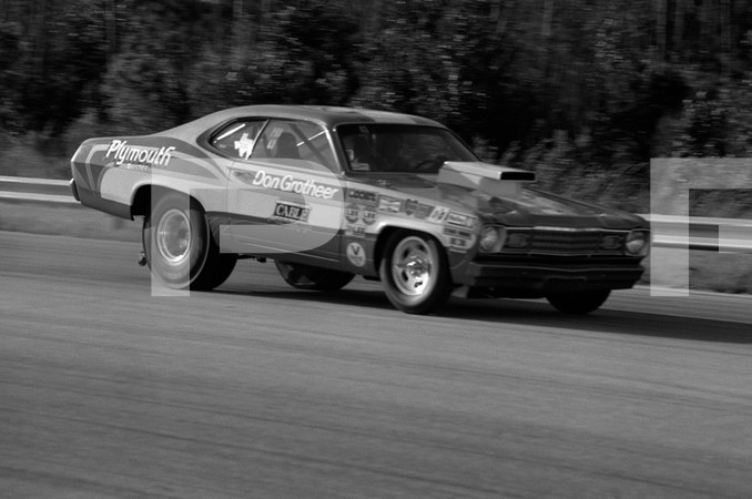 1973 NHRA 4th Annual Gatornationals - Gainesville Raceway Florida - 2 blurred 1 blank frame Prudhomme funny car, Mustang funny car