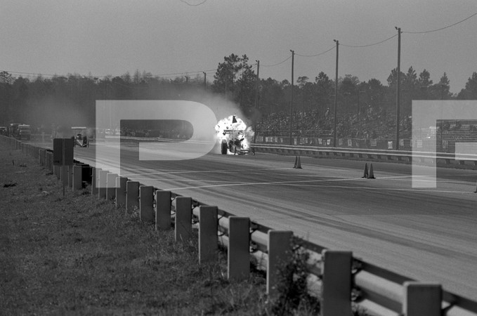 1973 NHRA 4th Annual Gatornationals - Gainesville Raceway Florida - 1 blurred frame -  top fuel and pro stock, Mustang and Vega